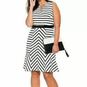 Eloquii Black and White Striped Dress Size 18